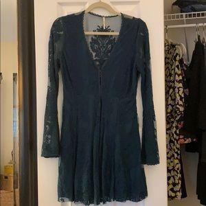 Free People Lace & Mesh Long Sleeve Dress